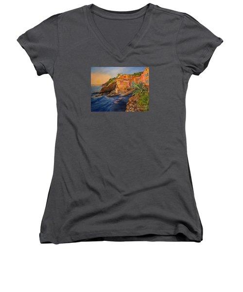 Riomaggiore Amore Women's V-Neck T-Shirt (Junior Cut) by Julie Brugh Riffey