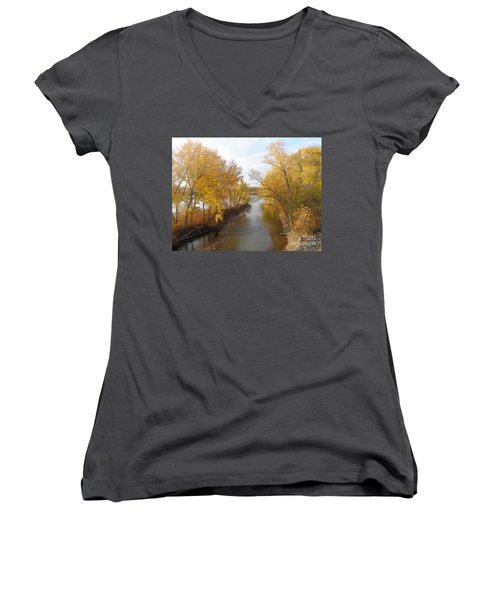 Women's V-Neck T-Shirt (Junior Cut) featuring the photograph River And Gold by Christina Verdgeline