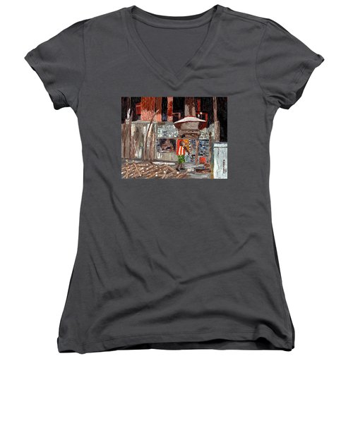Women's V-Neck T-Shirt (Junior Cut) featuring the painting River Antoine Rum Distillery by Laura Forde