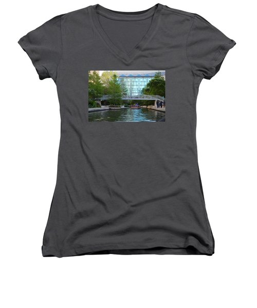 Women's V-Neck T-Shirt (Junior Cut) featuring the photograph River Boating  by Shawn Marlow