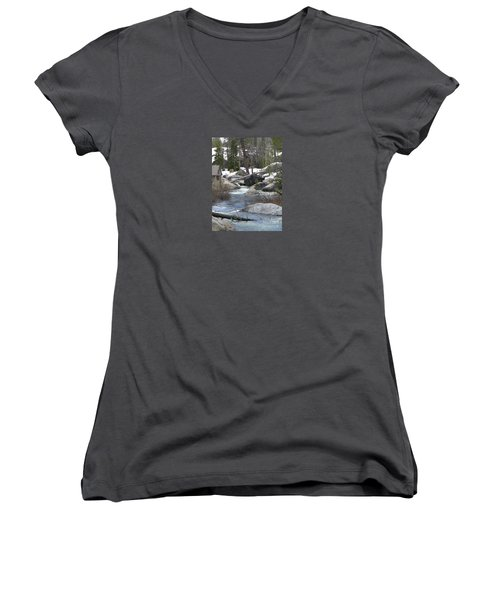 River Cabin Women's V-Neck T-Shirt (Junior Cut) by Bobbee Rickard