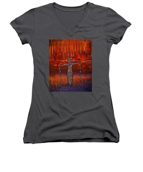 Women's V-Neck featuring the painting River Dance by Barbara St Jean