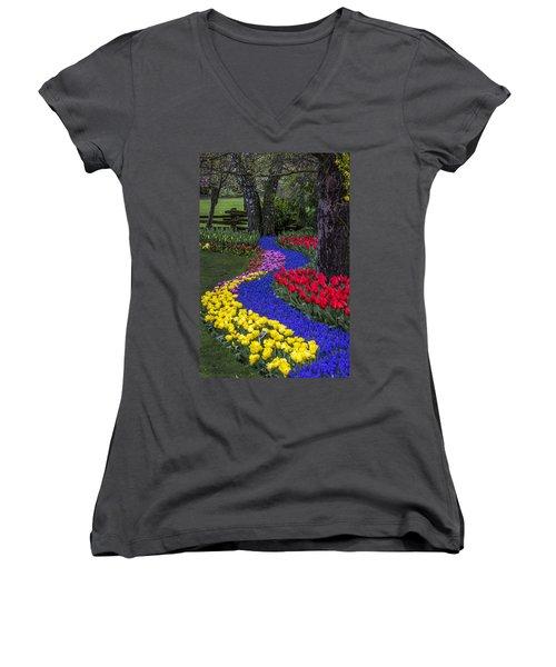 River Of Blue Women's V-Neck T-Shirt (Junior Cut) by Sonya Lang