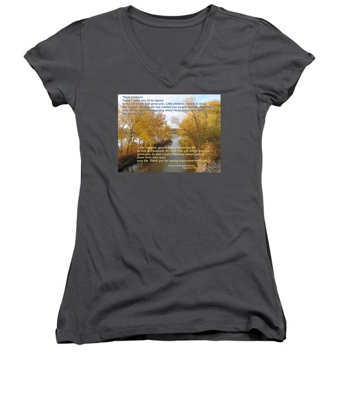 Women's V-Neck T-Shirt (Junior Cut) featuring the photograph River Of Joy by Christina Verdgeline