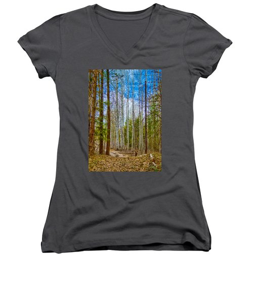 River Run Trail At Arrowleaf Women's V-Neck T-Shirt