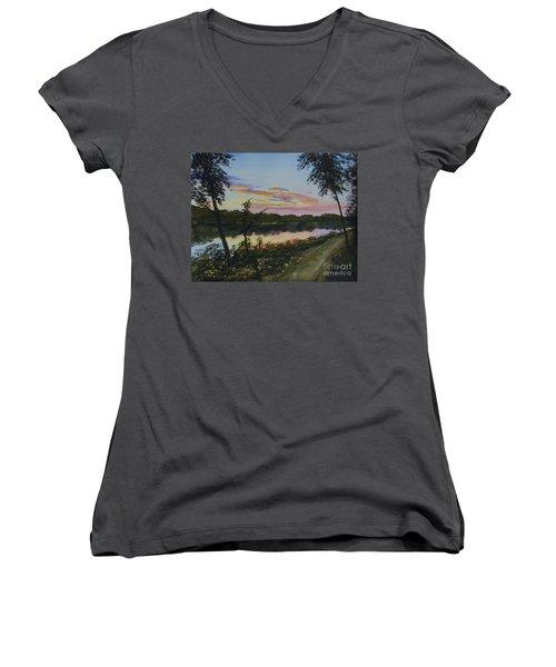 River Sunset Women's V-Neck T-Shirt (Junior Cut) by Martin Howard