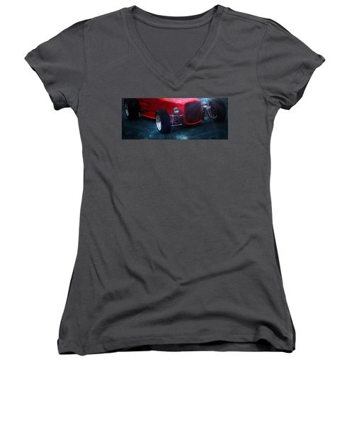 Old Cars Women's V-Neck T-Shirt (Junior Cut) featuring the photograph Road Rod  by Aaron Berg