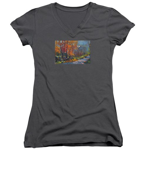 Road South Women's V-Neck T-Shirt (Junior Cut) by Len Stomski