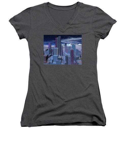 Women's V-Neck T-Shirt (Junior Cut) featuring the digital art Road To Nowhere by Judi Suni Hall