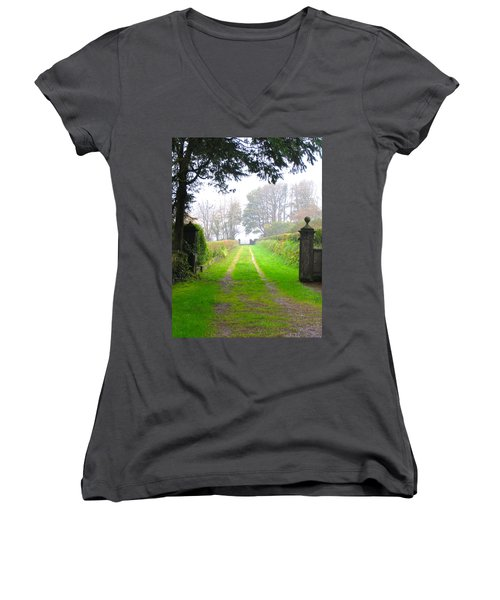 Women's V-Neck T-Shirt (Junior Cut) featuring the photograph Road To Nowhere by Suzanne Oesterling