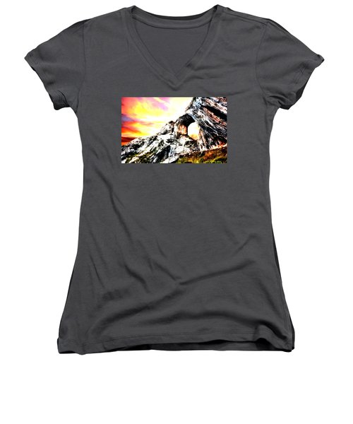 Women's V-Neck T-Shirt (Junior Cut) featuring the painting Rock Cliff Sunset by Bruce Nutting