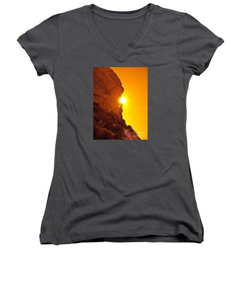 Rock Eclipse  Women's V-Neck T-Shirt (Junior Cut) by Gem S Visionary