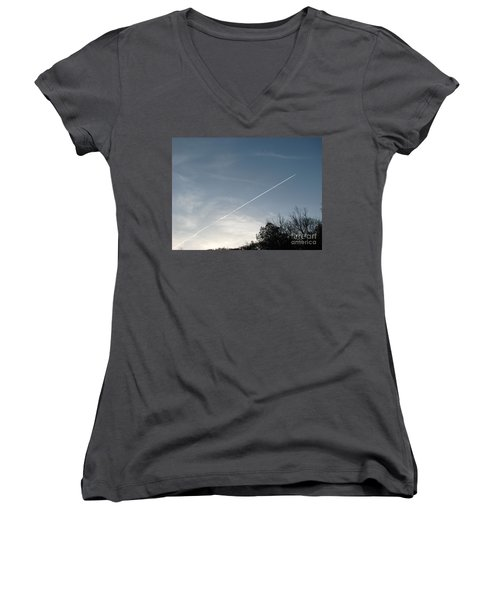 Women's V-Neck T-Shirt (Junior Cut) featuring the photograph Rocket To The Stars by Michael Krek
