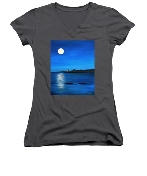 Rockport Harvest Moon Women's V-Neck T-Shirt (Junior Cut) by Eileen Patten Oliver