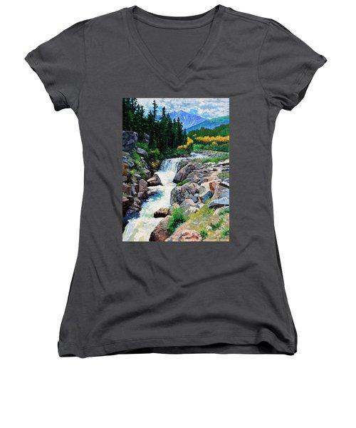 Rocky Mountain High Women's V-Neck T-Shirt (Junior Cut) by John Lautermilch