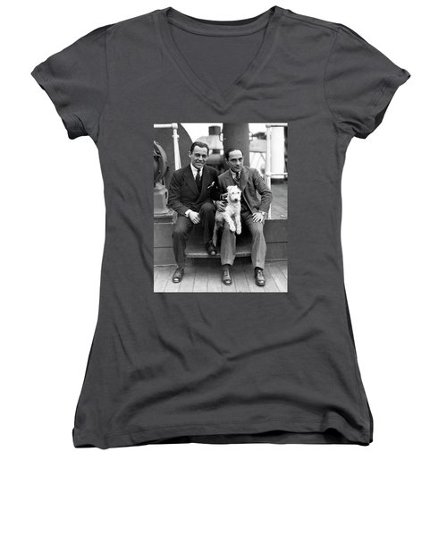 Women's V-Neck T-Shirt (Junior Cut) featuring the photograph Rodgers And Hart by Granger