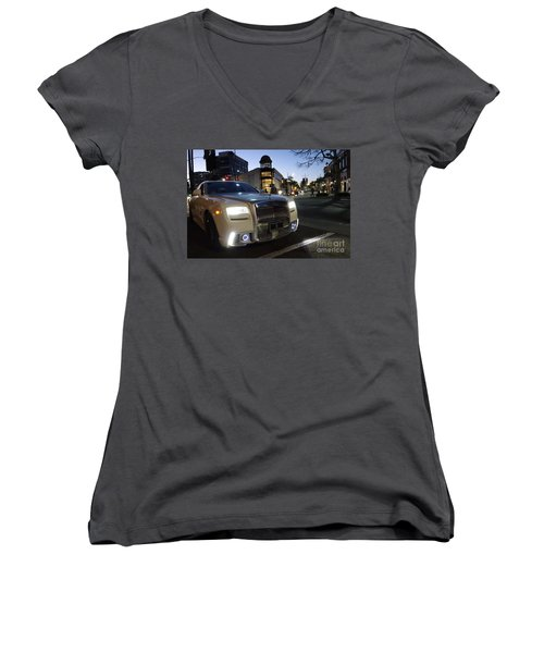 Rolls Royce Parked At The Bottom Of Rodeo Drive Women's V-Neck T-Shirt