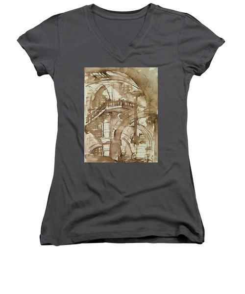 Roman Prison Women's V-Neck T-Shirt (Junior Cut) by Giovanni Battista Piranesi