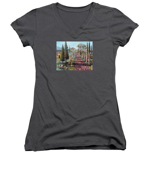 Women's V-Neck T-Shirt (Junior Cut) featuring the painting Roman Road by Lou Ann Bagnall