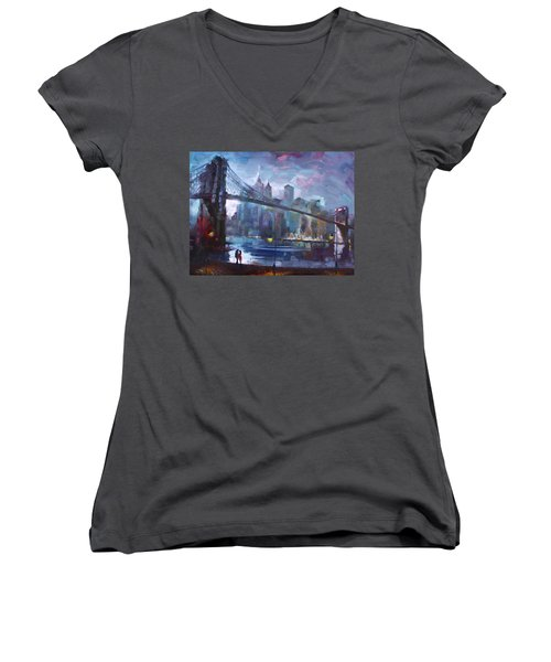 Romance By East River II Women's V-Neck T-Shirt (Junior Cut) by Ylli Haruni