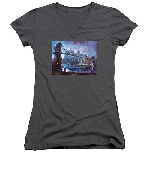 Romance By East River II Women's V-Neck T-Shirt (Junior Cut)