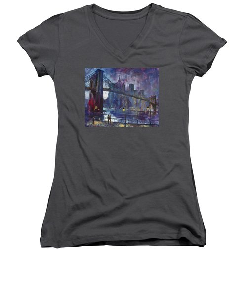 Romance By East River Nyc Women's V-Neck T-Shirt (Junior Cut) by Ylli Haruni