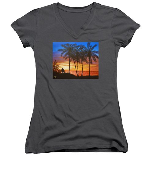 Romance In Paradise Women's V-Neck (Athletic Fit)