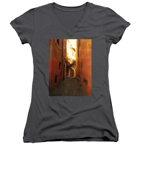 Women's V-Neck T-Shirt (Junior Cut) featuring the photograph Romano Cartolina by Micki Findlay