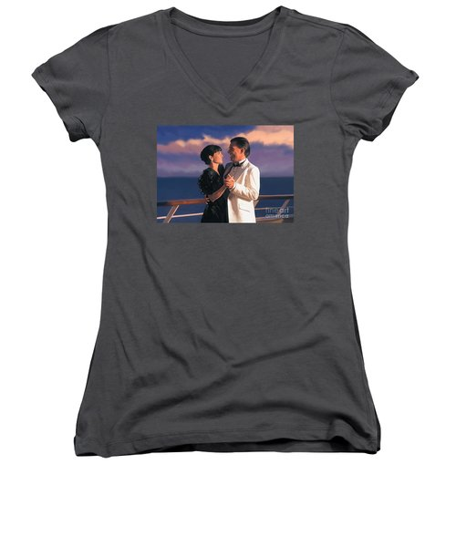 Women's V-Neck T-Shirt (Junior Cut) featuring the painting Romantic Cruise by Tim Gilliland