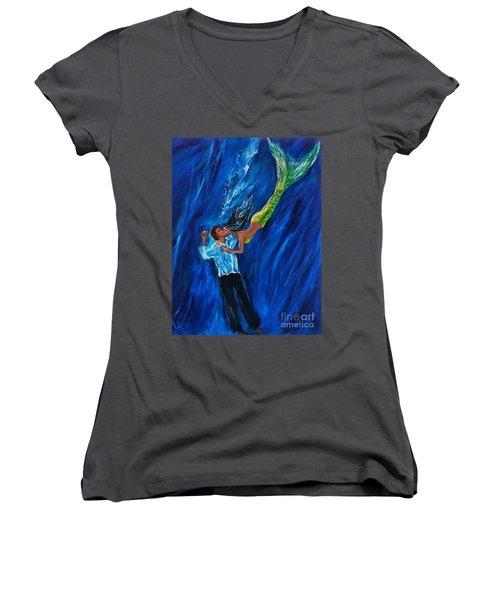 Romantic Rescue Women's V-Neck T-Shirt (Junior Cut) by Leslie Allen