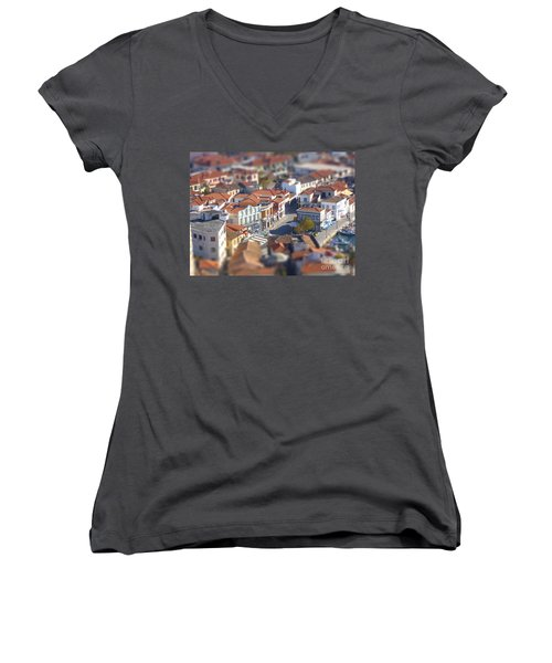 Women's V-Neck T-Shirt (Junior Cut) featuring the photograph Rooftops by Vicki Spindler