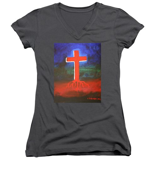 Rooted Women's V-Neck (Athletic Fit)