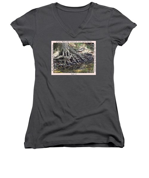 Roots With Verse Psalm 1 3 Women's V-Neck T-Shirt