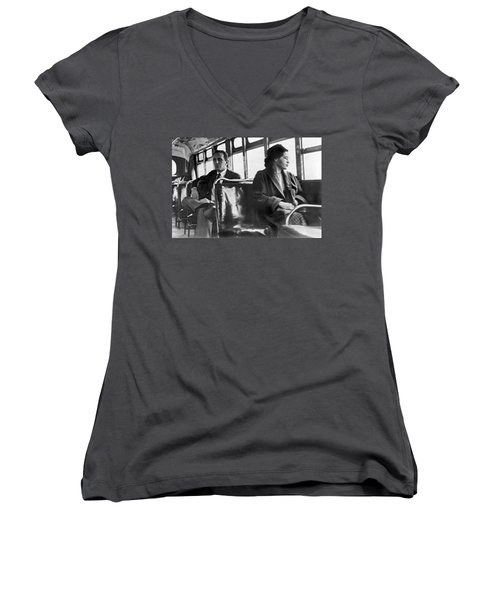 Rosa Parks On Bus Women's V-Neck (Athletic Fit)