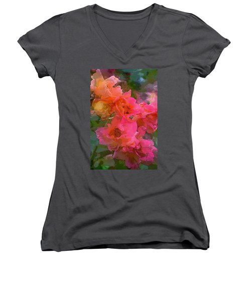 Rose 219 Women's V-Neck T-Shirt (Junior Cut) by Pamela Cooper