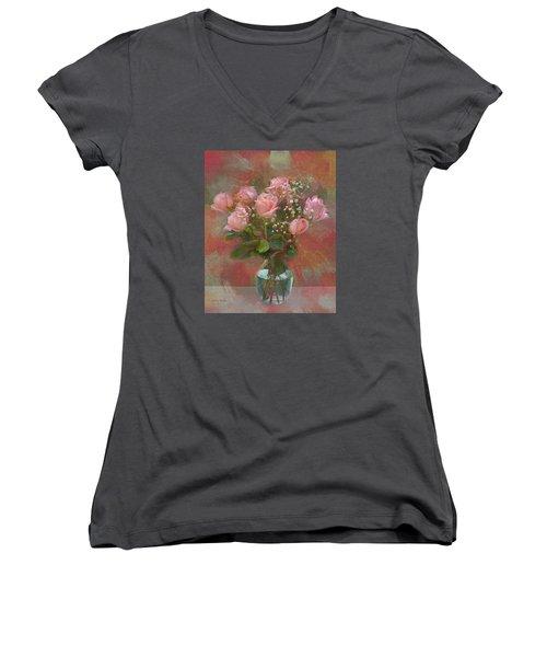 Rose Bouquet Women's V-Neck T-Shirt (Junior Cut) by Sandi OReilly