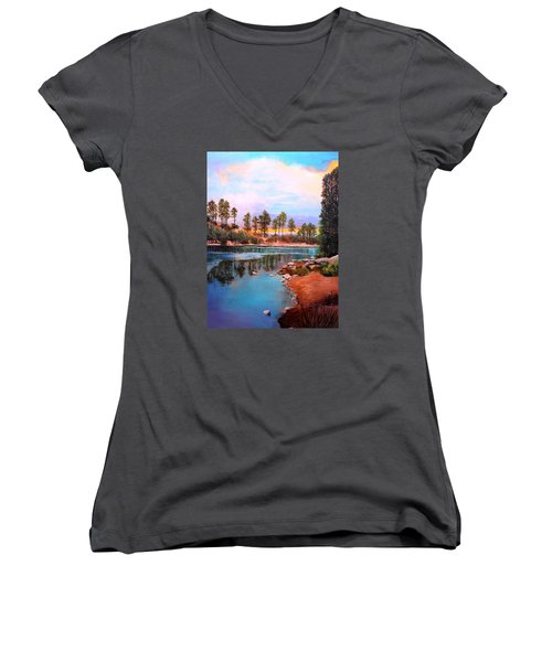 Rose Canyon Lake 2 Women's V-Neck T-Shirt (Junior Cut) by M Diane Bonaparte