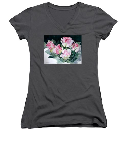 Watercolor Of A Pink Rose Bouquet Celebrating Ezio Pinza Women's V-Neck