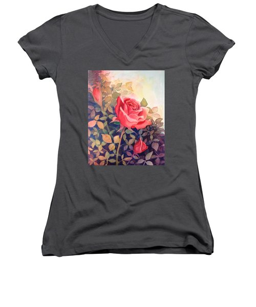 Rose On A Warm Day Women's V-Neck T-Shirt (Junior Cut) by Marilyn Jacobson
