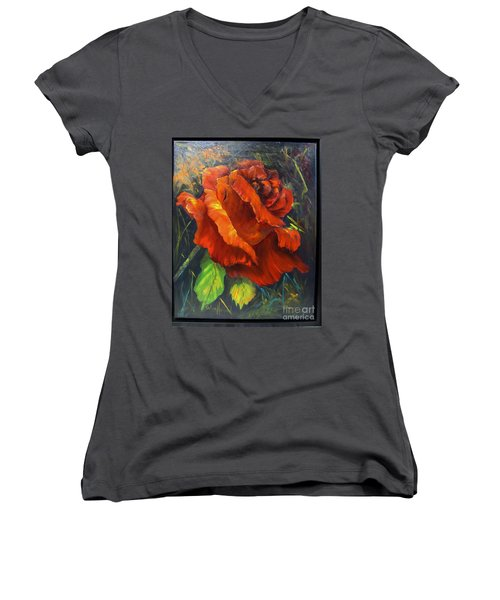 Rose Red Women's V-Neck T-Shirt (Junior Cut)