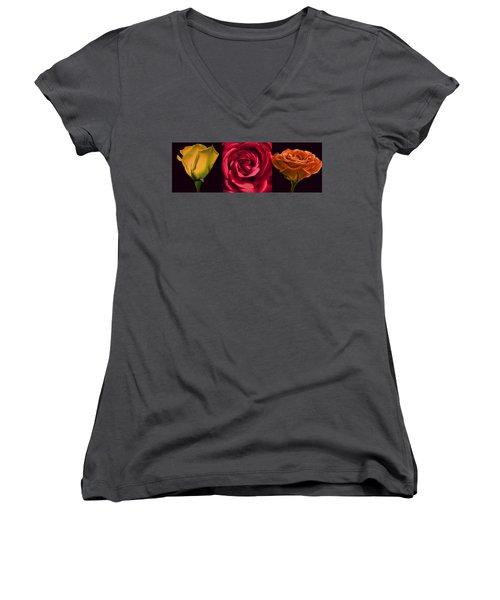Women's V-Neck T-Shirt (Junior Cut) featuring the photograph Rose Triad I by John Hansen