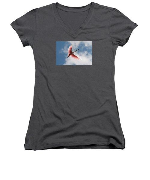 Roseate Soaring Women's V-Neck T-Shirt (Junior Cut) by Paul Rebmann