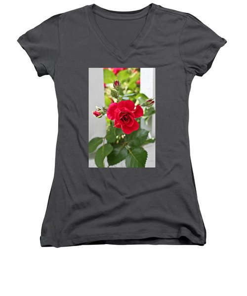 Women's V-Neck T-Shirt (Junior Cut) featuring the photograph Roses Are Red by Joann Copeland-Paul