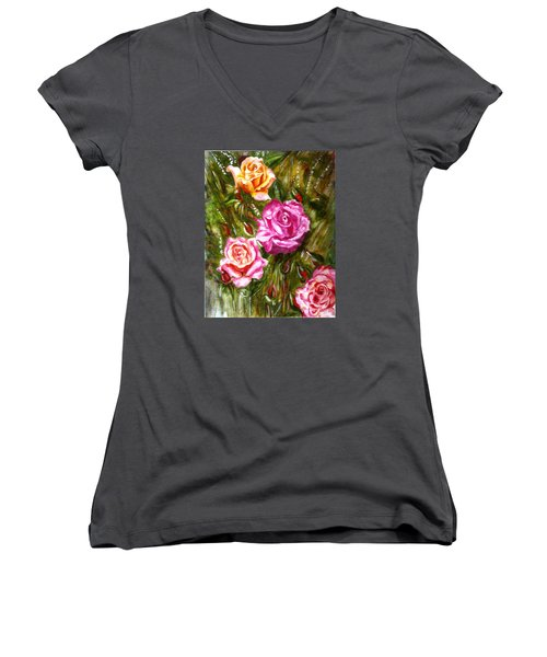 Women's V-Neck T-Shirt (Junior Cut) featuring the painting Roses by Harsh Malik