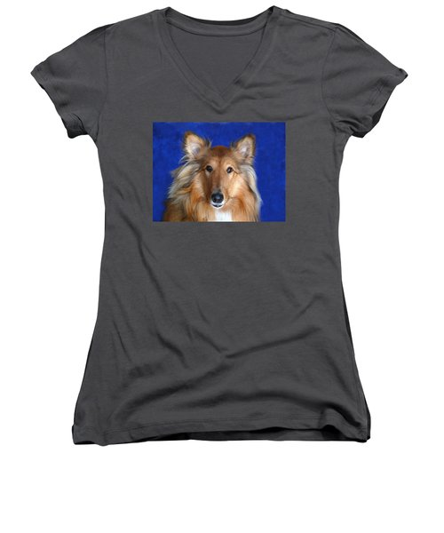 Women's V-Neck T-Shirt (Junior Cut) featuring the photograph Rosie by Evelyn Tambour