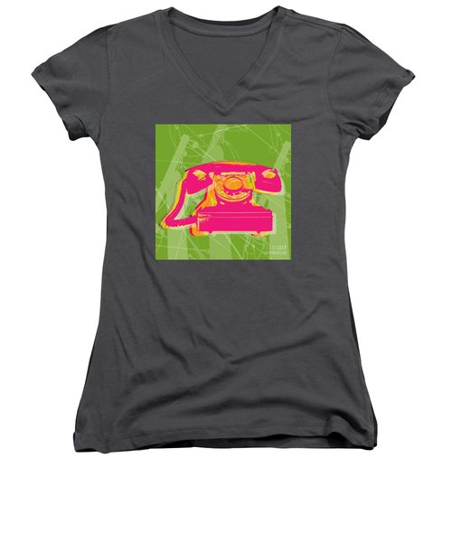 Rotary Phone Women's V-Neck T-Shirt (Junior Cut) by Jean luc Comperat