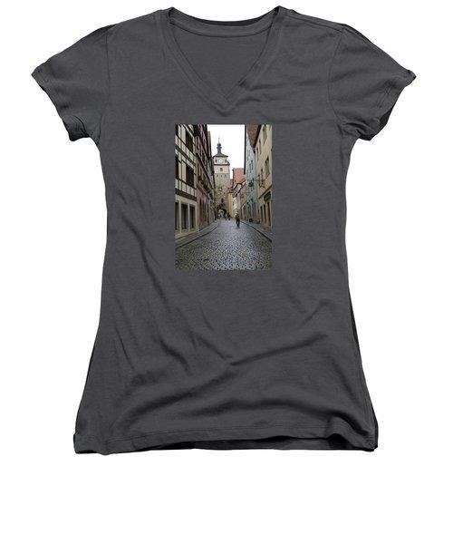 Women's V-Neck T-Shirt (Junior Cut) featuring the photograph Rothenburg Ob Der Tauber by Heidi Poulin