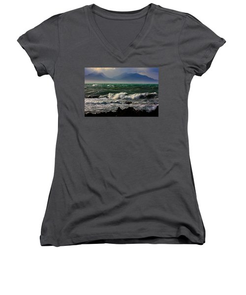 Women's V-Neck T-Shirt (Junior Cut) featuring the photograph Rough Seas Kaikoura New Zealand by Amanda Stadther