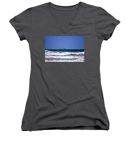 Women's V-Neck T-Shirt (Junior Cut) featuring the photograph Rough Seas Shrimping by DigiArt Diaries by Vicky B Fuller