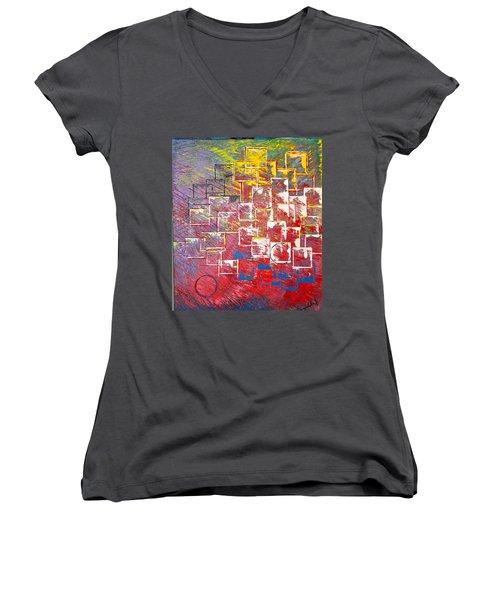 Round Peg Women's V-Neck T-Shirt (Junior Cut) by George Riney